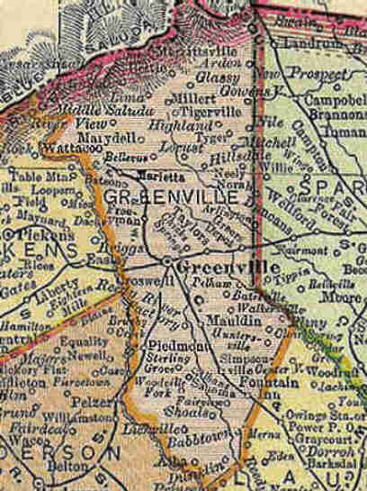 Greenville County South Carolina Historical Maps